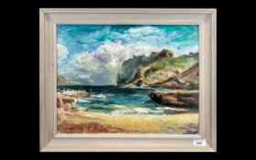Oil Painting Titled 'Majorca' Painted on Board in the Modern British Style,