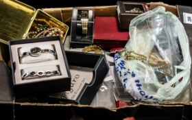 Large Collection of Costume Jewellery, comprising boxed Figaro watch and bracelet set,
