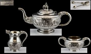 Anglo - Indian Superb Quality 4 Piece Silver Tea Service,