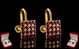 Ladies - Superb Pair of 18ct Gold Ruby Set Earrings of Square Form. The Rubies of Excellent Rich Red