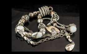 Large Vintage African White Metal Necklace, lovely statement piece, 34 inches (app,85cms) long (a/