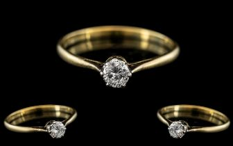 18ct Gold and Platinum Single Stone Diamond Set Ring, Marks Rubbed but Tests 18ct Gold. The Round