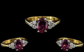18ct Gold - Attractive and Exquisite Pink Sapphire and Diamond Set Dress Ring, Of Pleasing Design.