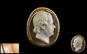 An Important Antique Oval Portrait Bust Cameo of Fine Quality - Of a Dignified Gentleman, Carved