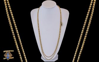 Victorian Period Superb 10ct Gold Muff Chain with Slider. Marked 10ct. c.1900. Excellent Warm Colour
