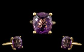 18ct Yellow Gold - Superb Large Amethyst Set Ring. Marked 18ct to Interior of Shank. The Faceted