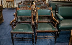Set of Six Edwardian Green Leather Club Armchairs,