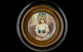 A Fine Quality Miniature Painting on Porcelain of Charlotte Augusta Papendiek, painted and signed by