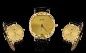 Piguet - 18ct Gold and Diamond Set Ladies Wrist Watch with Original Piguet Signed Buckle, Black Calf