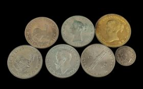 Six Large Faux Silvered Coins plus a 1940 shilling