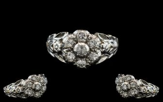 Ladies 18ct White Gold Attractive - Diamond Set Cluster Ring, Flower head Setting / Design, Which