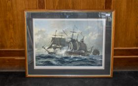 Ship Interest - Limited Edition Signed Print by K Jepson, depicting a galleon in rough seas.