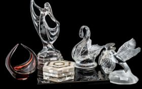 Collection of Decorative Glass Items, comprising a cut glass swan dish; a Lalique style classic