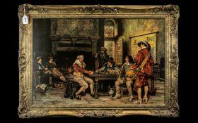 Large Art Print After Frank Moss Bennett Titled 'The Winning Hand'; in a gilt swept frame,