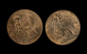 Two 1902 Edwardian Copper Coins, still retaining their original lustre. Uncirculated.