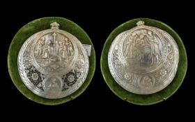 Pair of Antique Italian Carved Mother of Pearl Shell Plaques, finely detailed,