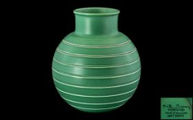 Wedgwood Keith Murray Signed Ribbed Football Shaped Vase, Matt Green Colour way. c.1930's. Signed to