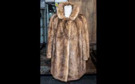Vintage Mink Coat, Golden Brown, shawl collar, two slit pockets, 3/4 sleeves,