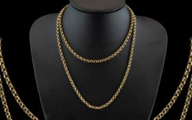 9ct Gold Belcher Chain of Long Length with Excellent Clasps. Fully Marked for 9ct. Excellent