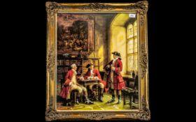 Frank Moss Bennet Print depicting huntsmen in a room setting, drinking; in a swept gilt frame,