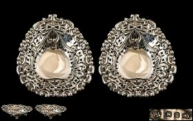 Edwardian Period Pair of Sterling Silver Open-worked Heart Shaped Bon Bon Dish of Small Proportions,