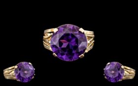 Egyptian 18ct Gold - Pleasing Single Stone Amethyst Ring, Shank of Ornate Design. The Large