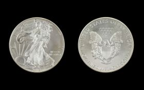 United States of America Liberty Silver Dollar - 1 oz Fine Silver .999 Silver Purity - Date 2013.