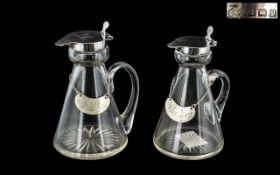 George V Period - Fine Pair of Sterling Silver and Glass Whisky Noggins / Decanters.