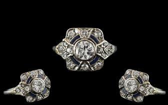 Edwardian Period 1902 - 1910 Attractive Platinum Pave Set Diamond and Sapphire Dress Ring. Beautiful