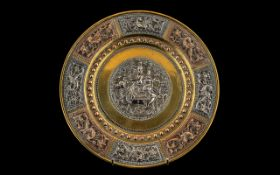 Finely Cast Silver Embellished Indian Temple Dish,
