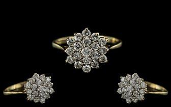 Ladies 9ct Gold Attractive Diamond Set Cluster Ring - Flower head Setting. Full Hallmark for 9.