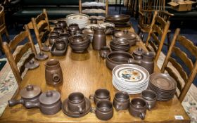 Denby Langley Dinner Service comprising: plain brown pottery - large jug with handle,