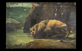 Antique Oil on Canvas of a Lion Drinking From Lake. The Artist Capturing the Lion Majestically