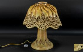 Unusual Art Pottery Glazed Stoneware Mushroom Shaped Lamp and Shade,