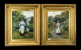 Pair of Fine Watercolour Drawings of Young Girls in an English Woodland Setting, painted in bright,