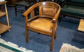 Three Small Edwardian Tub Chairs comprising two with upholstered backs and seats,