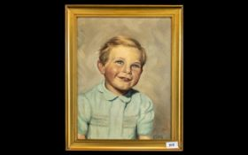 Oil on Board of a Young Boy with Golden Hair, wearing a blue smock; monogrammed AN, dated 1945,