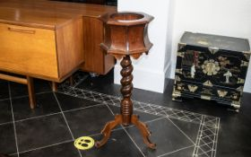 German Plant Pot Stand, of unusual form, with a twisted column supported on three cabriole shaped