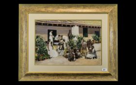 Circle of M V Dhurandhar Fine Watercolour Depicting the Exterior of an Indian Surgery in the 1920s;