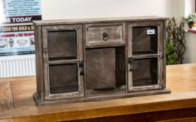 Small Wooden Display Cabinet with two cupboard doors with glass fronts,
