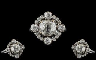 Edwardian Period 1902 - 1910 Stunning 18ct White Gold Diamond Set Cluster Ring. Beautiful Design,