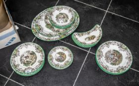Spode 'Byron' Part Dinner Service comprising: a large serving plate, a medium serving plate,