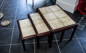 Modern Tiled Top Teak Nest of Three Tables, largest table 26'' x 18'', circa 1970s.