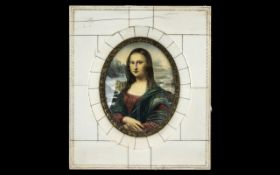 """A Mid 20th Century Portrait Miniature of the Mona Lisa. Piano key frame, overall size 6"""" x 5""""."""