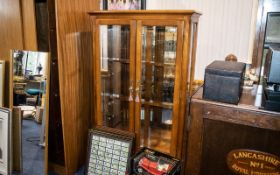 Contemporary Cherrywood Double Door China Display Cabinet with a mirrored back; 33 inches (82.