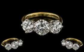 18ct Gold and Platinum - Superb 3 Stone Diamond Set Ring. Full Hallmark to Interior of Shank.