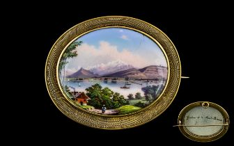 Swiss Early 19th Century Empire Period Documentary Enamelled Oval Brooch, mounted in a 15ct gold