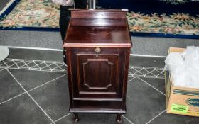 Victorian Mahogany Coal Purdonium with Liner styled as a cabinet with a pull down front to access