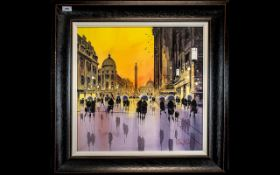PETER J RODGERS (British Contemporary) London Street Scene With Figures, signed bottom Right,