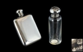 Early 20th Century - Sterling Silver Screw Top Perfume Bottle / Flask of Small Proportions and